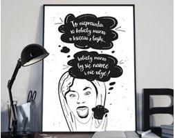 Plakat premium - Ilustracja z hasłem - Kobiety marzą o - 50 x 70 cm