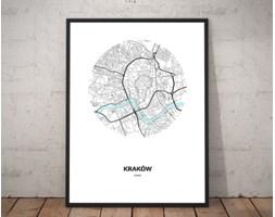 Plakat premium - Mapa Krakowa w kole - 70 x 100 cm
