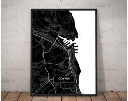 Plakat premium - Mapa Gdyni czarno-biała - 70 x 100 cm