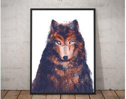 Plakat premium - Wilk na jasnym tle - ilustracja - 70 x 100 cm