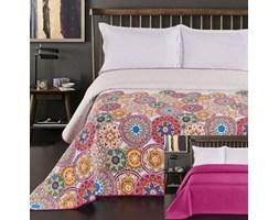 Narzuta dekoracyjna 220x240 Bibi biała fioletowa kolorowe kółka dwustronna