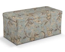 Dekoria Skrzynia tapicerowana, roślinne wzory na błękitno- szarym tle, 90 × 40 × 40 cm, Gardenia