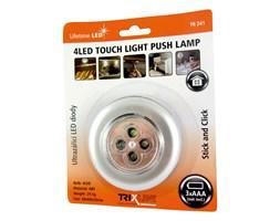LED Nocne światło dotykowe 4xLED/3xAAA srebrny