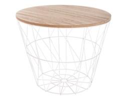 Stolik kawowy w stylu modern, drewniany blat z drucianym kloszem, uniwersalny i nowoczesny stół.