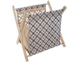 Organizer na czasopisma, praktyczny stojak z drewna i metalu, idealny sposób na przechowywanie prasy i dokumentów.
