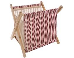 Stojak na czasopisma, oryginalny organizer na prasę, stylowy mebel z drewna i tekstyliów.