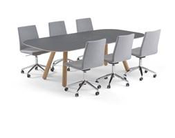 Zestaw konferencyjny, Radius + Perry, stół i 6 szarych krzeseł