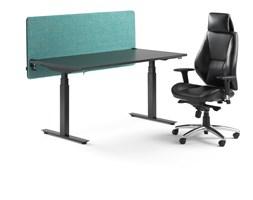 Zestaw mebli biurowych biurko elektryczne Modulus + krzesło biurowe Stirling + ścianka Zip