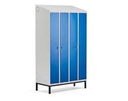 Szafa ubraniowa CLASSIC COMBO, na nóżkach, 4 drzwi, 2100x1200x550 mm, niebieski