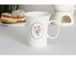 Kubek porcelanowy DUO SHABBY ROSES 400 ml -- biały różowy - rabat 10 zł na pierwsze zakupy!