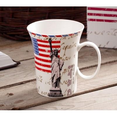 Kubek porcelanowy DUO AMERYKA 400 ml -- biały - rabat 10 zł na pierwsze zakupy!