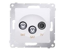 Gniazdo antenowe satelitarne podwójne SAT-SAT-RTV Biały - DASK2.01/11 Simon 54 Premium
