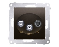 Gniazdo antenowe R-TV-SAT satelitarne podwójne SAT-SAT-RTV Brąz mat - DASK2.01/46 Simon 54 Premium