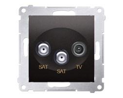 Gniazdo antenowe R-TV-SAT satelitarne podwójne SAT-SAT-RTV Antracyt - DASK2.01/48 Simon 54 Premium