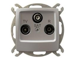Gniazdo antenowe RTV-SAT końcowe Srebrny perłowy - GPA-SS/m/43 Karo