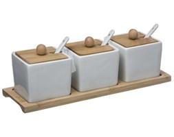 Miseczki do serwowania dipów + łyżeczki, zestaw 3 naczyń z pokrywkami i tacą - porcelana i bambus, SECRET de GOURMET