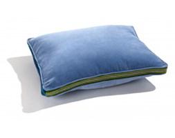 Poduszka duża niebieski aksamit, pasiak łowicki 60x50cm