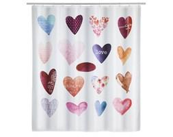 Zasłonka prysznicowa LOVE z printem, wodoodporna kurtyna łazienkowa + 12 pierścieni - 180 x 200 cm, WENKO