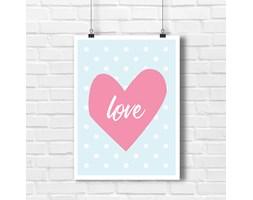 Poster z napisem love i różowe serce 5632 - Buy Design