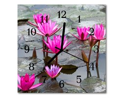 Zegar szklany kwadratowy Lilie wodne