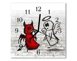 Zegar szklany kwadratowy Diabeł anioł