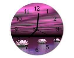 Zegar szklany okrągły Lilie wodne