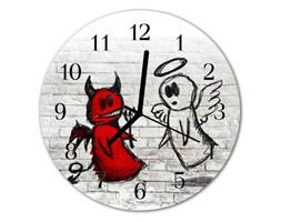 Zegar szklany okrągły Diabeł anioł