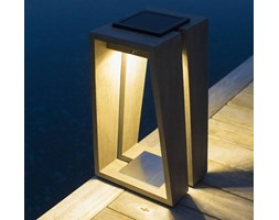 TINKA TECKA-Laterna zewnetrzna LED akumulatorowa & sloneczna Drewno Wys.39cm
