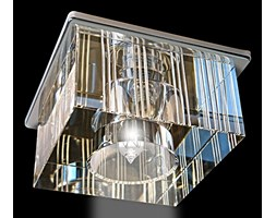 Srebrna lampa sufitowa 2056cr kryształowe oczko gumarcris oprawa podtynkowa salon hol łazienka hotel