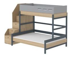 Łóżko rodzinne ze schodami, 200x140/90cm, ramy lity dąb JAGODA
