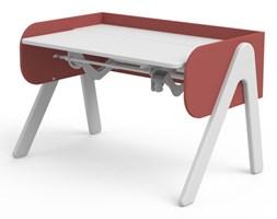 Białe biurko dla dzieci - Woody, sosna biała, różowe ścianki (77x120x71cm)