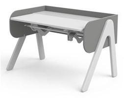 Białe biurko dla dzieci - Woody, sosna biała, szare ścianki (77x120x71cm)