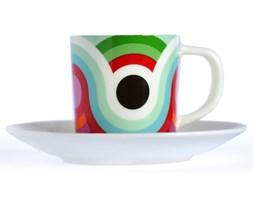 Filiżanka z talerzykiem do kawy, porcelanowe naczynie w nowoczesne wzory do espresso