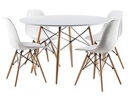 Zestaw Stół 130x80 Cm 4 Krzesła Białych Na Nogach Bukowych