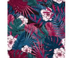 0f5e9b68cb5525 Fototapeta Egzotyczne liście i kwiaty wzór. Tropikalny kwiatowy tło. Ilustracji  wektorowych