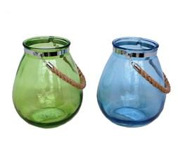 Lampion szklany z metalowym okuciem wys.27cm