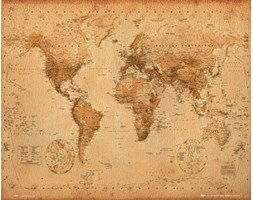 Polityczna Mapa Świata w Starym Stylu - plakat