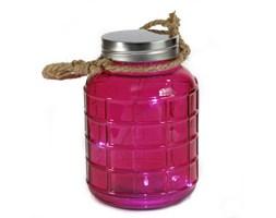 Kolorowy SŁOIK Lampion LED różowy lampka wisząca 20 cm