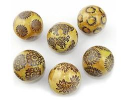 Ceramiczna kula dekoracyjna 6 cm - brązowa - żółta - komplet 6szt