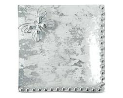 Szklany talerz dekoracyjny z koralikami i motylem - podstawka pod świece