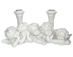 Podwójny Świecznik z 5 aniołkami - Anioły i 2 kolumny Vivien Collection