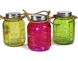 Zestaw 3 kolorowych Lampionów słoików LED lampka wisząca 20 cm