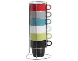 Zestaw 6 kolorowych filiżanek do cappuccino + metalowy stojak