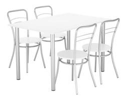 Stół + 4 krzesła w kolorze białym NOWY STYL