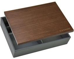 Pudełko na biżuterię lub spinki z drewnianą pokrywką Stackers