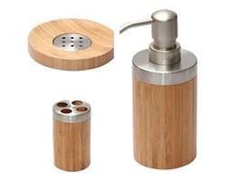 Zestaw łazienkowy komplet drewno i metal