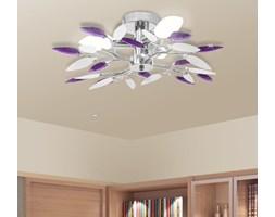 vidaXL Lampa sufitowa, plafon, białe i fioletowe listki 3 żarówki E14