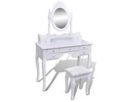 vidaXL Toaletka z lustrem i stołkiem, 7 szuflad, biała
