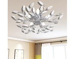 vidaXL Lampa sufitowa z akrylowymi kryształowymi liścmi biel 5 x E14 żarówka