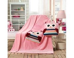 Koc dziecięcy – Cuties –  Sowy - Różowy - 110x160 cm